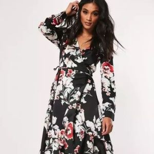 New black floral asymmetric wrap midi dress